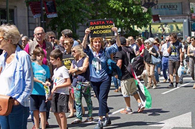 Manifestación por el acogimiento de refugiados