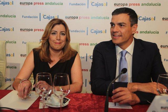 Susana Díaz y Pedro Sánchez, en los Desayunos de Europa Press Andalucía