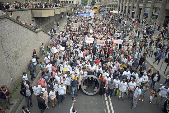 MAnifestación contra el terrorismo de musulmanes en Colonia