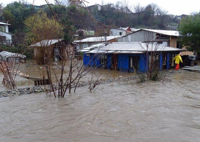 Inundación provocada por las fuertes lluvidas en Chile.
