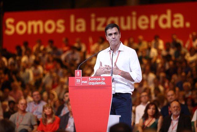 Pedro Sánchez durante su discurso en el Congreso del PSOE