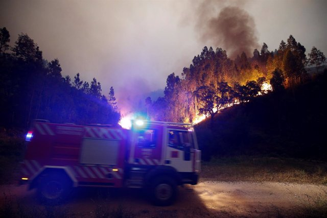Incencio en Leiria, Portugal