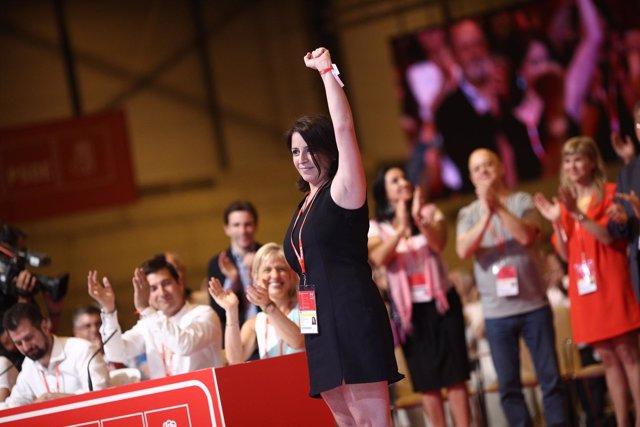 Adriana Lastra durante el Congreso del PSOE