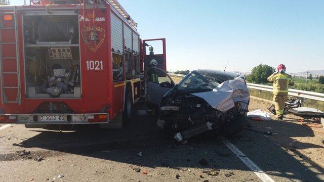 Un muerto en un accidente de tráfico en la N-232 en Mallén.