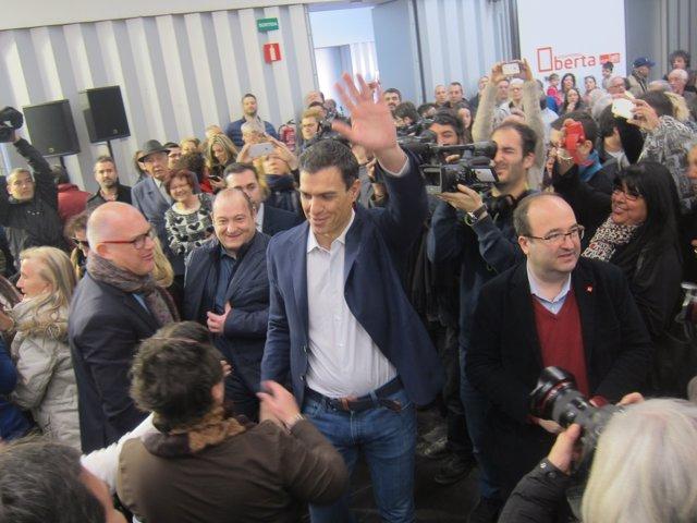 Carles Ruiz, Pedro Sánchez i Miquel Iceta a Viladecans en una imatge d'arxiu