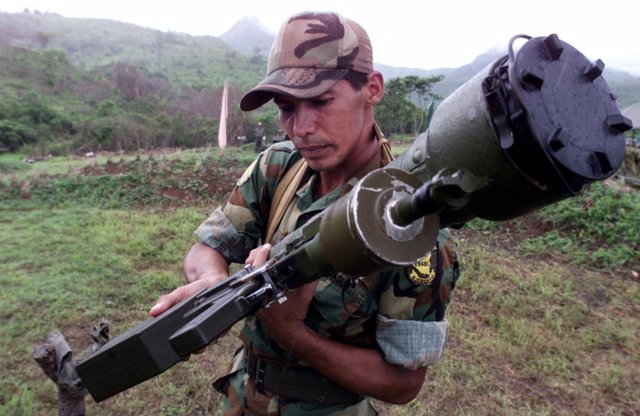 A member of the Nicaraguan Army shows a SAM 7 anti aircraft missile