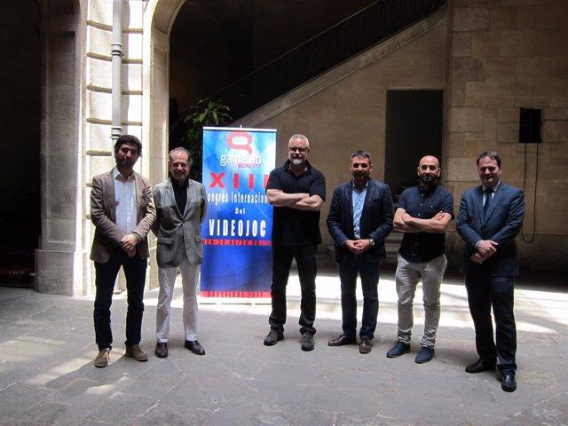 Presentación del Gamelab, con su dtor.I.Fdez.Lobo y el secr.J.Puigneró