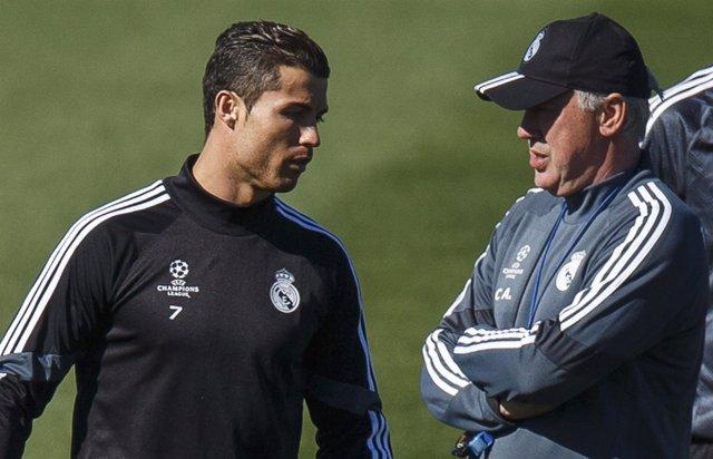 Carlo Ancelotti y Cristiano Ronaldo (Real Madrid)