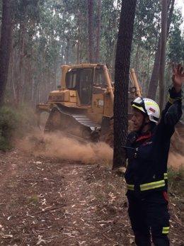 Bomberos del Ericam en el incendio de Portugal