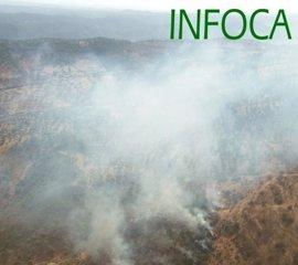 El Infoca trabaja en la extinción de un incendio forestal en un paraje de Encinasola (Huelva)