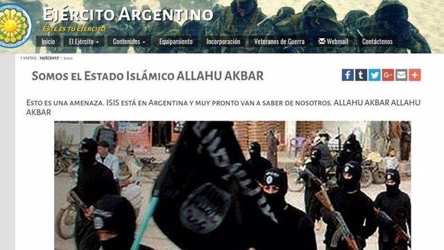 Ataque con imágenes del Estado Islámico en la web del Ejército argentino