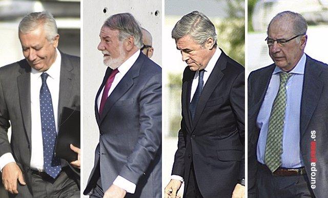 Arenas, Acebes, Mayor Oreja y Rato llegan a la Audiencia para declarar