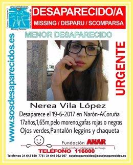 Buscan a la menor Nerea Vila López, desaparecida en Narón.