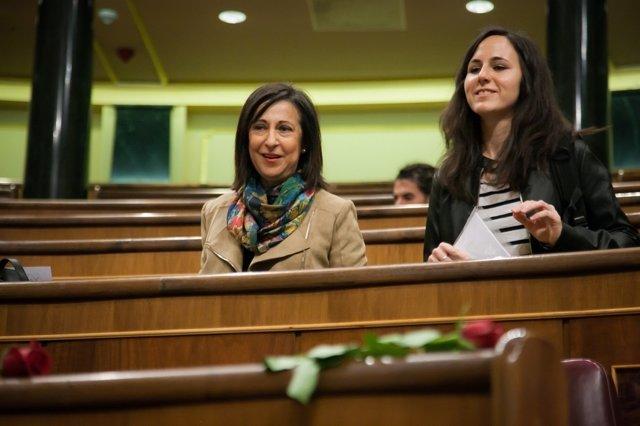 Margarita Robles en los escaños en el Congreso