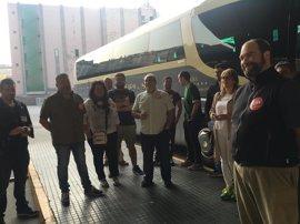 Un piquete en Vigo desalojado para que saliera un bus a Oporto