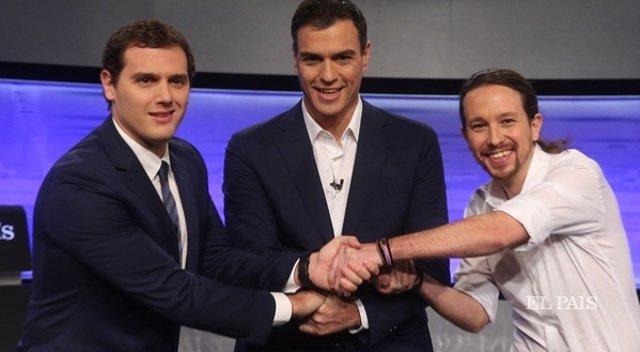 Albert Rivera, Pedro Sánchez y Pablo Iglesias en el debate de El País