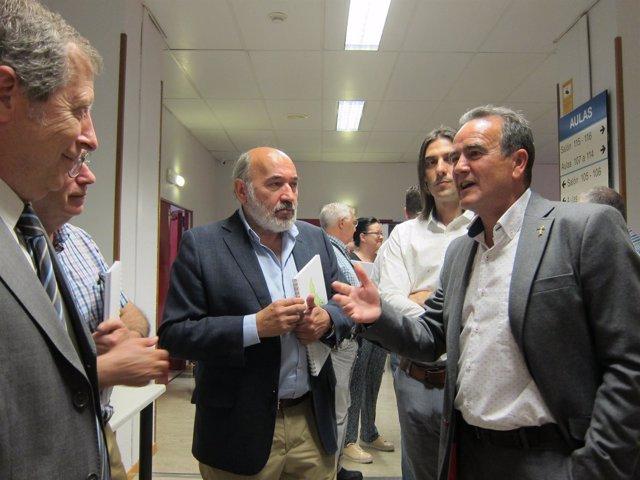 Sánchez Quero junto al alcalde de Calatayud, antes del III Foro de Alcaldes