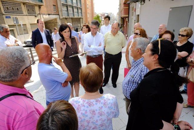 Visita a rehabilitación de las calles Acebedos y Monte en Santander