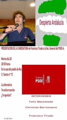 Cartel anunciando la presentación de Francisco Tirado