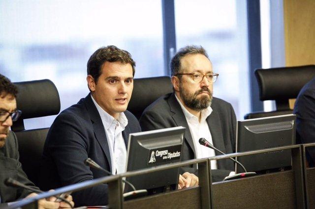 El presidente de Ciudadanos, Albert Rivera, y el portavoz Juan Carlos Girauta