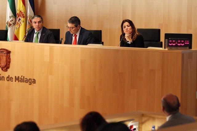Pleno diputación de Málaga Bendodo Salado y Mata miran Conejo febrero 2017