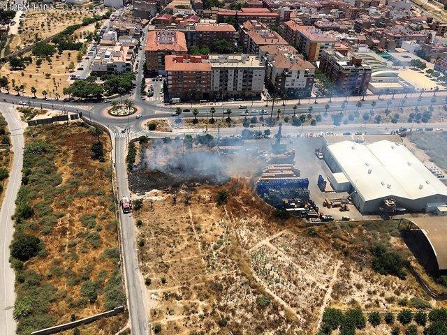 Imagen del incendio en Alcantarilla