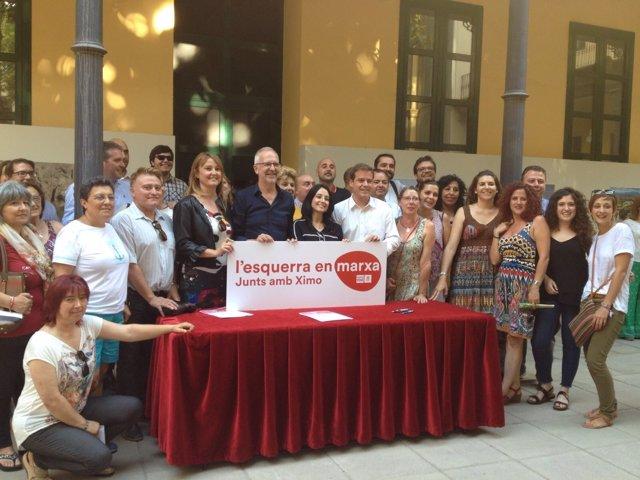 Militantes socialistas muestran su apoyo a Ximo Puig en las primarias del PSPV