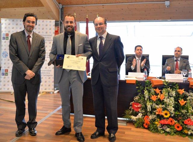 Juan García, Pablo Espín y Manuel Jódar, decano del Colegio Oficial de Caminos