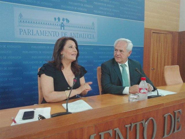 La portavoz del PP-A en el Parlamento, Carmen Crespo, junto al diputado Miranda