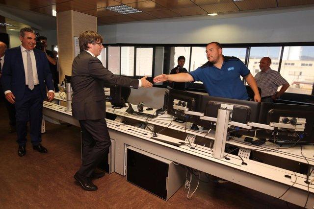 El pte.C.Puigdemont visita la nueva planta del Consorci d'Aigües de Tarragona.