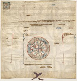Imagen del documento del siglo XIII recuperado en Murcia