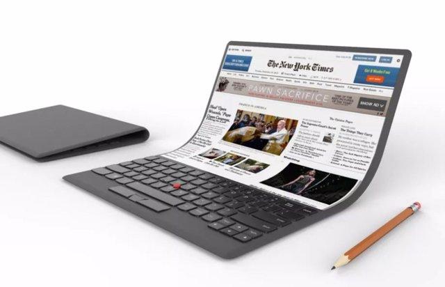 Lenovo ordenador portátil PC pantalla flexible diseño boceto