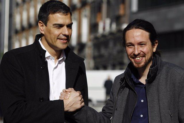 Reunión entre Pedro Sánchez y Pablo Iglesias en el Congreso