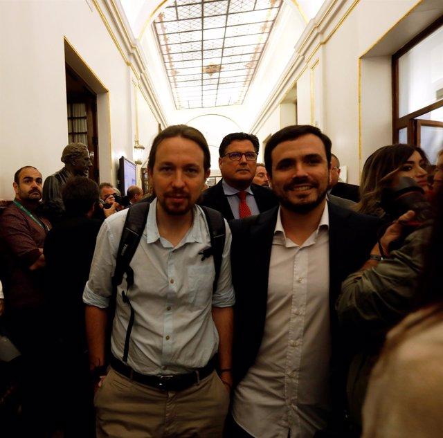 Pablo Iglesias y Alberto Garzón