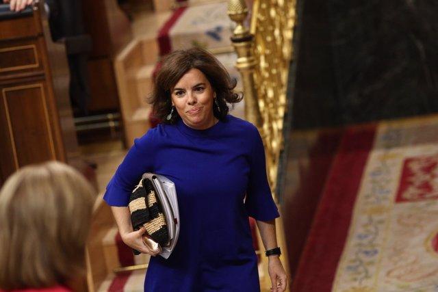 Santamaría llega a la sesión de control al Gobierno en el Congreso