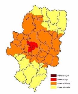 Mapa de prealerta roja