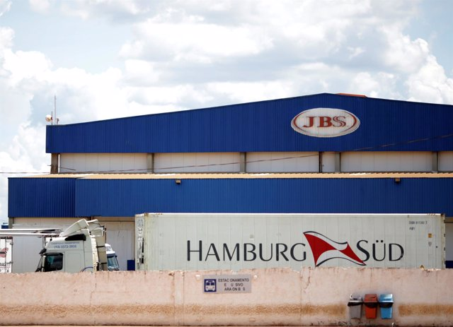 A truck is pictured at the Brazilian meatpacker JBS SA after a Brazil's Federal