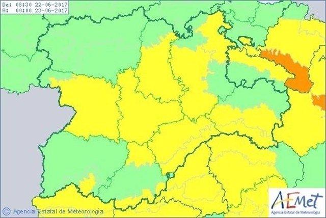 Imagen de la previsión de temperaturas en CyL este jueves