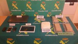 Guardia Civil impide la venta de más de 211.000 dosis de droga con destino Murcia y otras CCAA