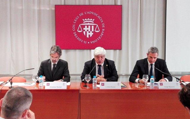 Los abogados Cristóbal Martell, Jorge Navarro y el decano del Icab Oriol Rusca