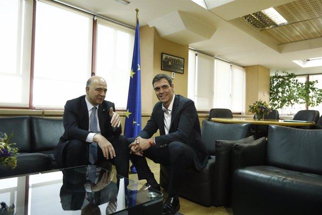 Pedro Sánchez se reúne con Pierre Moscovici