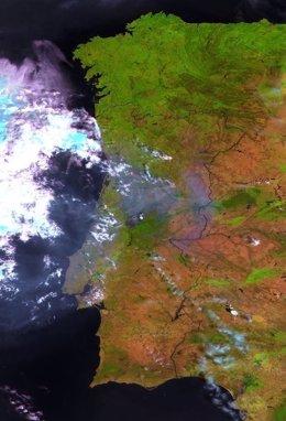 Vista regional de la zona del incendio en Portugal del satélite Proba-V de ESA
