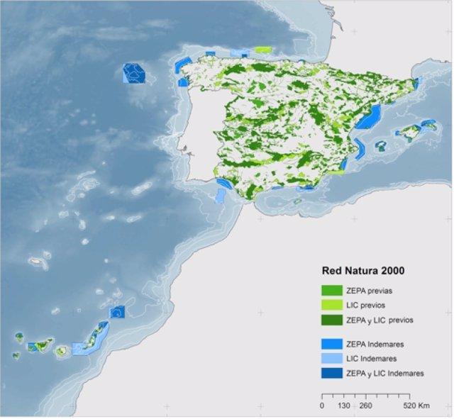Mapa de la Red Natura 2000 y zonas ZEPA y LIC marians