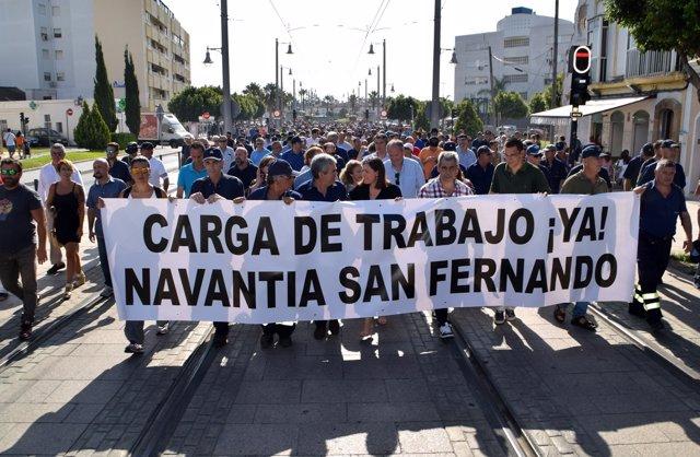 Fotografías Manifestación Navantia Y Declaraciones Alcaldesa Y Presidente Comité