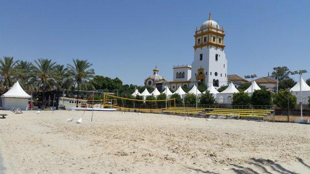Zona deportiva de la nueva playa del Puerto de Sevilla