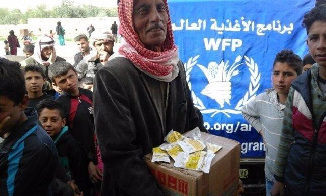 Reparto de la ayuda del PMA en Siria