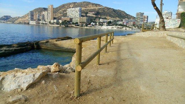 Playa de l'Albufereta al fondo y La Cantera