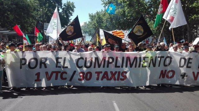 Protestas de taxistas contra las licencias de VTC