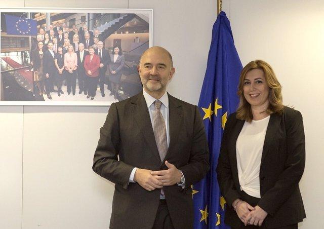 Susana Díaz y el comisario de Asuntos Económicos, Pierre Moscovici