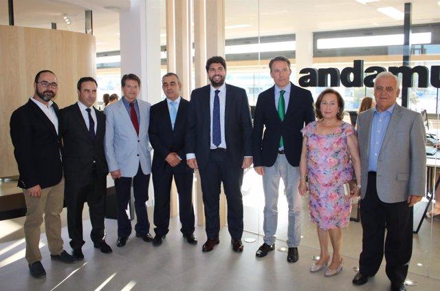 López Miras en su visita a las instalaciones del Centro de Negocios de Andamur
